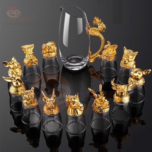 bộ cốc thủy tinh 12 con giáp mạ vàng