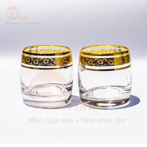 bộ cốc thủy tinh mạ vàng