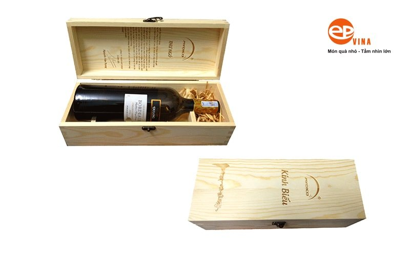Hộp gỗ đựng rượu vang gỗ thông giá rẻ Hà Nội