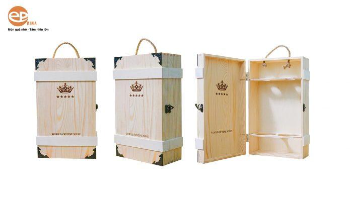 mua hộp rượu gỗ đôi