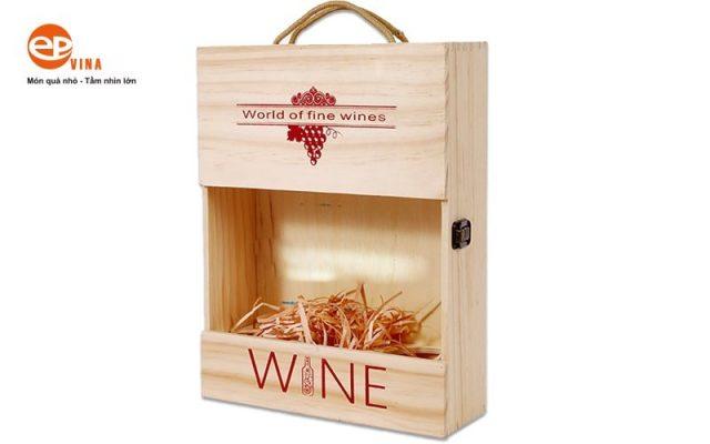 rượu vang hộp gỗ 3 chai