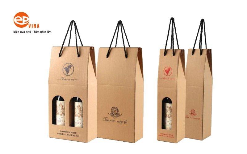 Bán túi giấy đựng chai rượu vang đẹp in logo Hà Nội