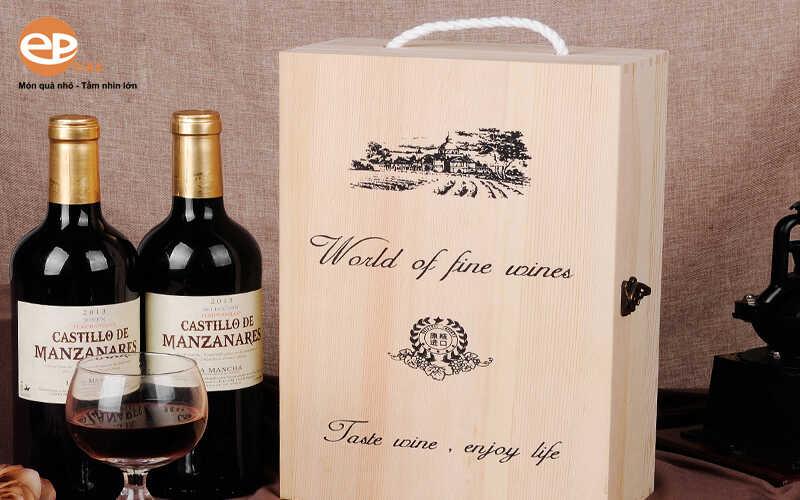 Hộp đựng rượu vang bằng gỗ